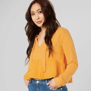 Free People Top Yellow Peplum Cropped Tee V Neck